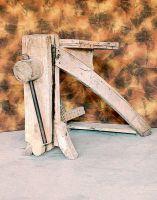Morsa in legno di fabbricazione artigianale.