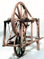 La carriola del moléta, dell'arrotino, con telaio in legno.