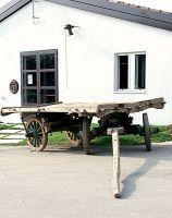 Carro da trasporto agricolo a quattro ruote, di legno