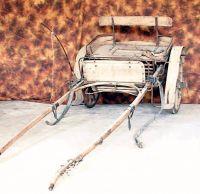 Timonèla o calesse a due ruote ricoperte di gomma per traino a cavallo.